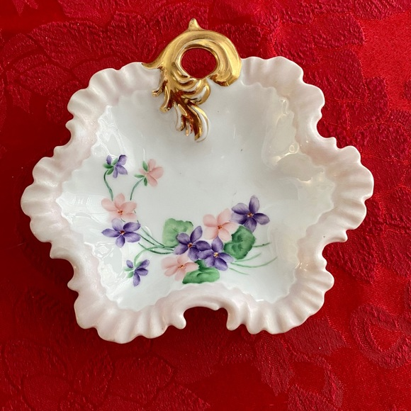 Antique hand painted trinket dish